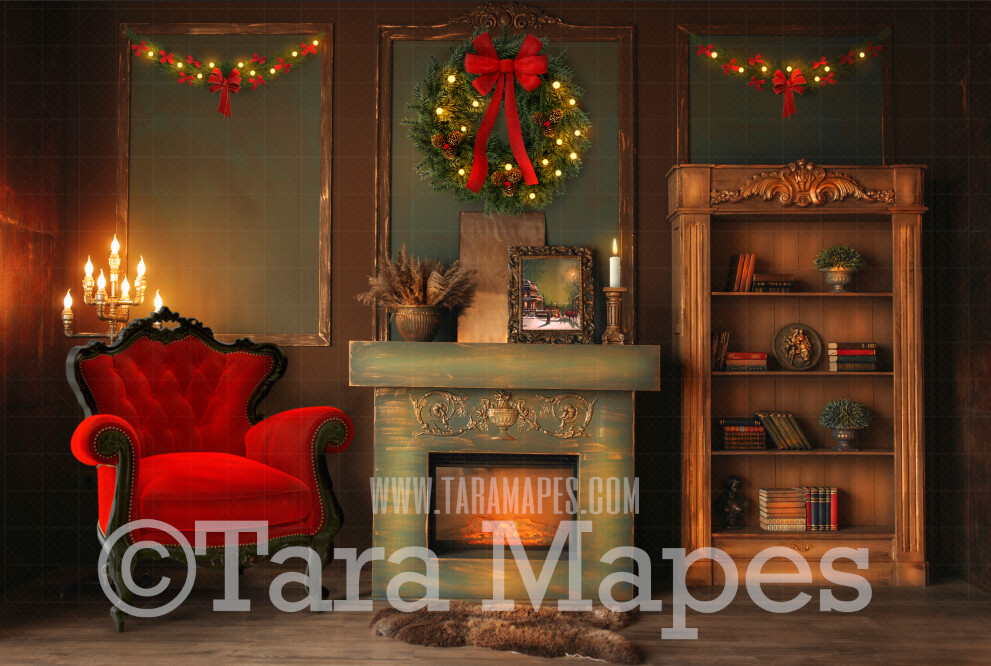 Vintage Christmas Room with Fireplace  - Vintage Holiday Scene - Christmas Background - Holiday Digital Background Backdrop
