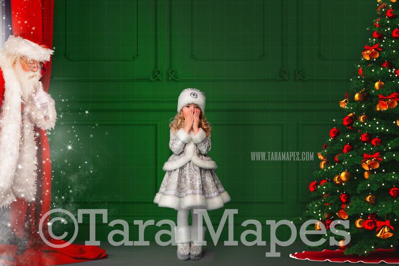 Christmas Digital Backdrop - Santa Peeking in Window  - Santa in Green Christmas Room - Christmas Background - Holiday Digital Background Backdrop