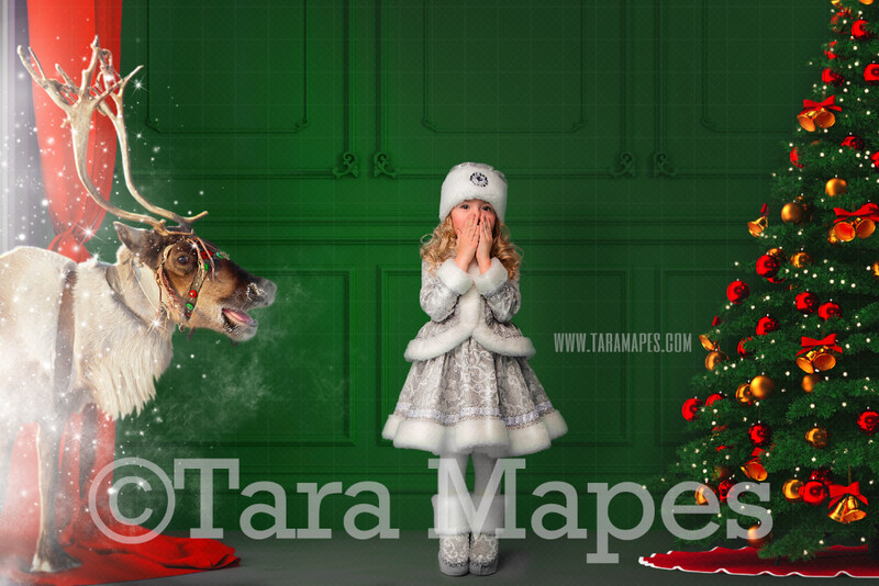 Green Christmas Room with Reindeer  - Vintage Holiday Scene Magic Window and Christmas Tree - Christmas Background - Holiday Digital Background Backdrop