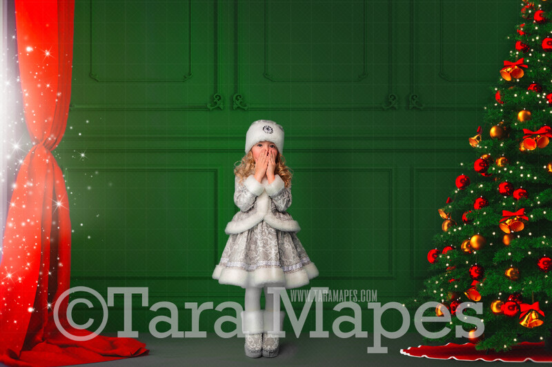 Green Christmas Room with Magic Window  - Vintage Holiday Scene - Christmas Background - Holiday Digital Background Backdrop