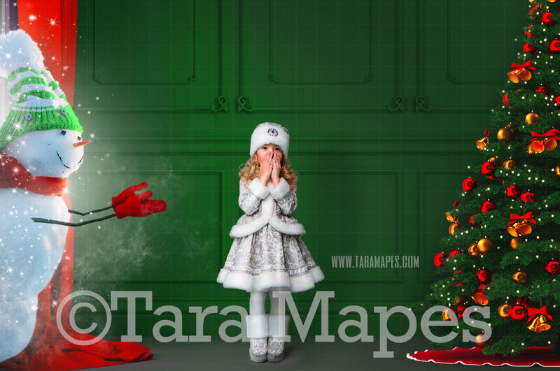 Christmas Digital Backdrop - Snowman in Magic Christmas Window  - Snowman in Green Christmas Room - Christmas Background - Holiday Digital Background Backdrop
