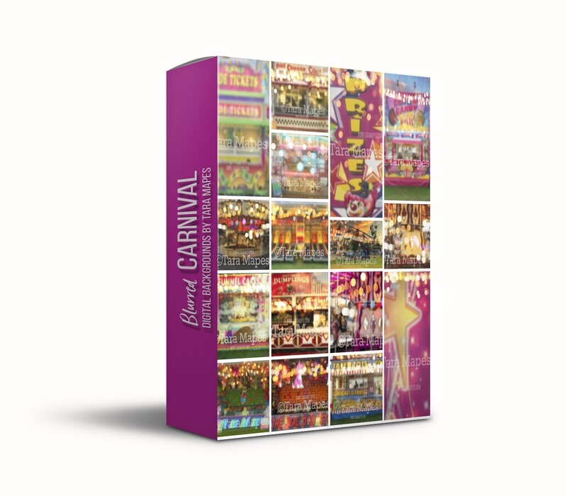 TWENTY PACK - 20 Carnival Digital Backgrounds - Blurred Bokeh Fair Circus Backdrops -  JPG file - Photoshop Digital Background / Backdrop