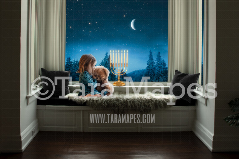 Hanukkah Menorah Digital Backdrop - Temple Menorah in Window  - Jewish Chanukah Background - Holiday Digital Background Backdrop