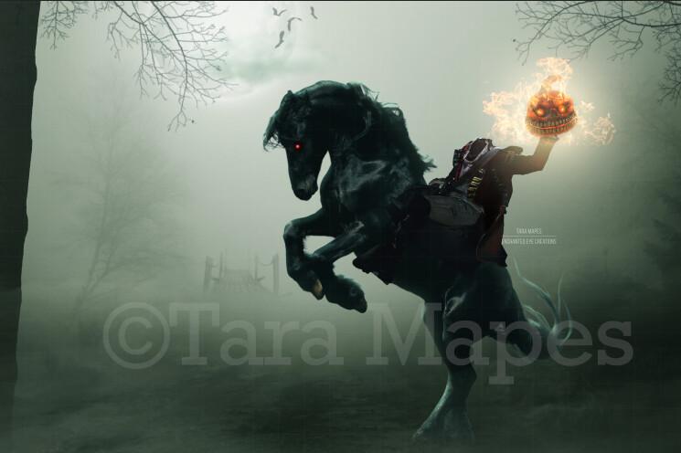 Headless Horseman Horse - Demon Horse Ridden for a Headless Horseman -  Halloween Digital Background Backdrop