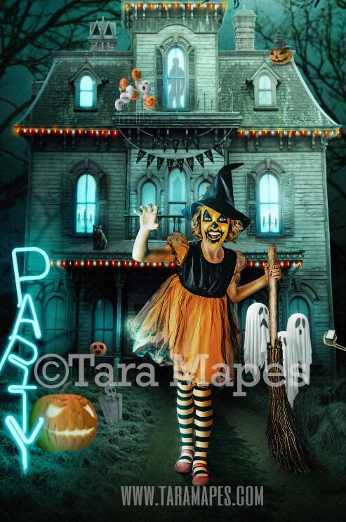 Halloween Digital Backdrop - Haunted House - Trick or Treating - Fun Spooky - Kid Friendly - Digital Background / Backdrop