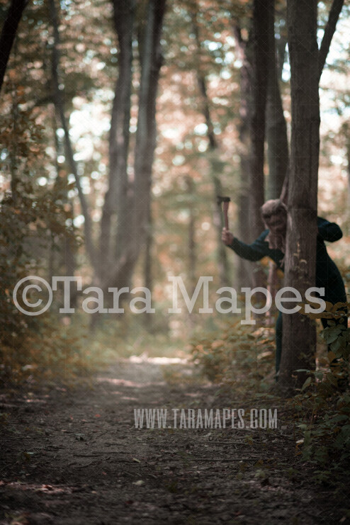 Halloween Digital Backdrop - Serial Killer Peeking Behind Tree with Ax in Woods - Fun Spooky - Killer in Woods with Axe -  Digital Background / Backdrop