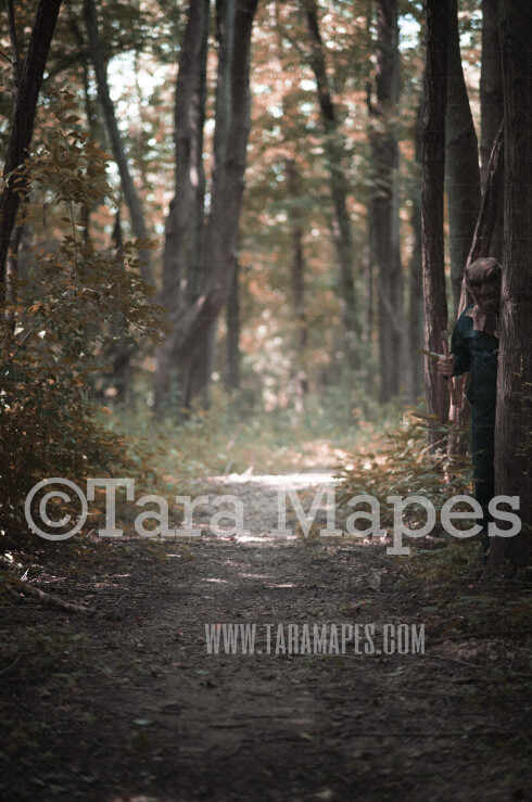 Halloween Digital Backdrop - Serial Killer Peeking Behind Tree in Woods - Fun Spooky - Killer in Woods -  Digital Background / Backdrop