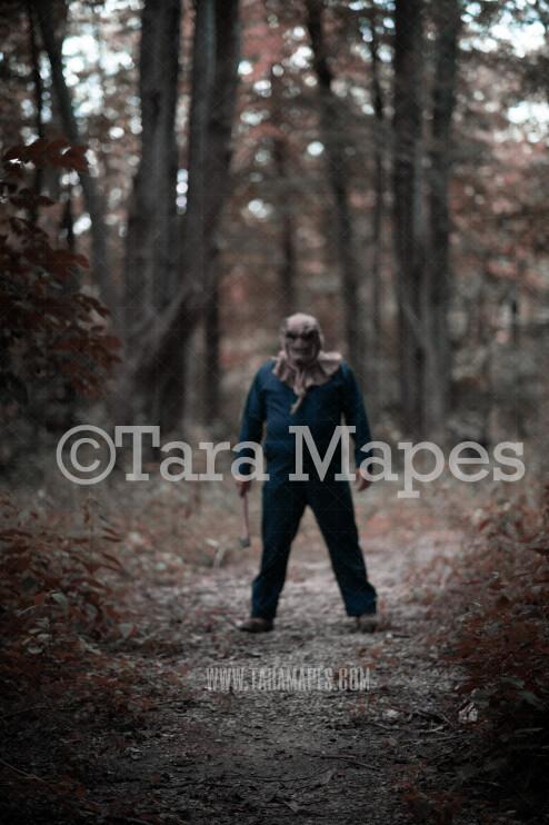 Halloween Digital Backdrop - Serial Killer in Mask with Ax in Woods - Fun Spooky - Creepy Killer Hiding -  Halloween Digital Background