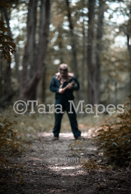 Halloween Digital Backdrop - Serial Killer with Ax in Woods - Fun Spooky - Creepy Killer Chase -  Halloween Digital Background