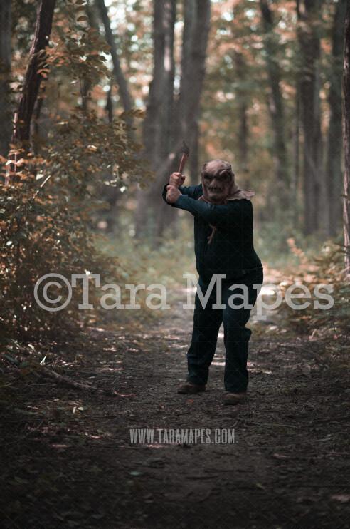 Halloween Digital Backdrop - Serial Killer Chase - Fun Spooky - Killer in Woods 2-  Digital Background / Backdrop