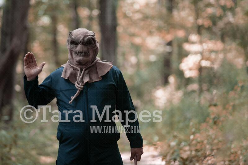 Halloween Digital Backdrop - Serial Killer Waving - Funny Spooky - Creepy Killer -  Halloween Digital Background