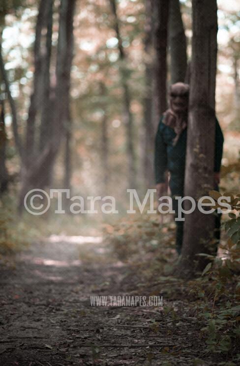 Halloween Digital Backdrop - Serial Killer Peeking Behind Tree with Ax in Woods - Fun Spooky - Creepy Killer Hiding -  Halloween Digital Background