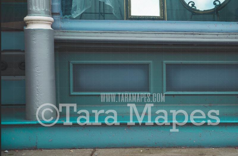 Storefront Stoop Digital Background - Blue Store Steps Stairs Stoop - JPG file - Photoshop Digital Background / Backdrop