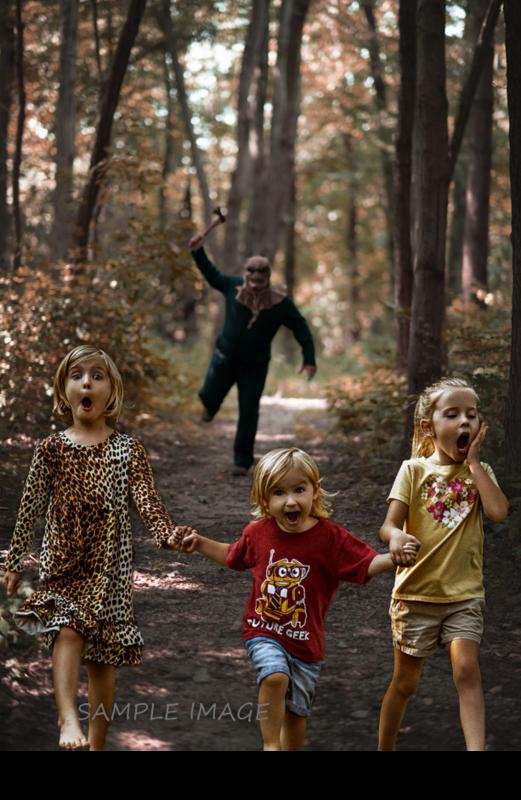 Halloween Digital Backdrop - Serial Killer Chase - Fun Spooky - Killer in Woods 1-  Digital Background / Backdrop