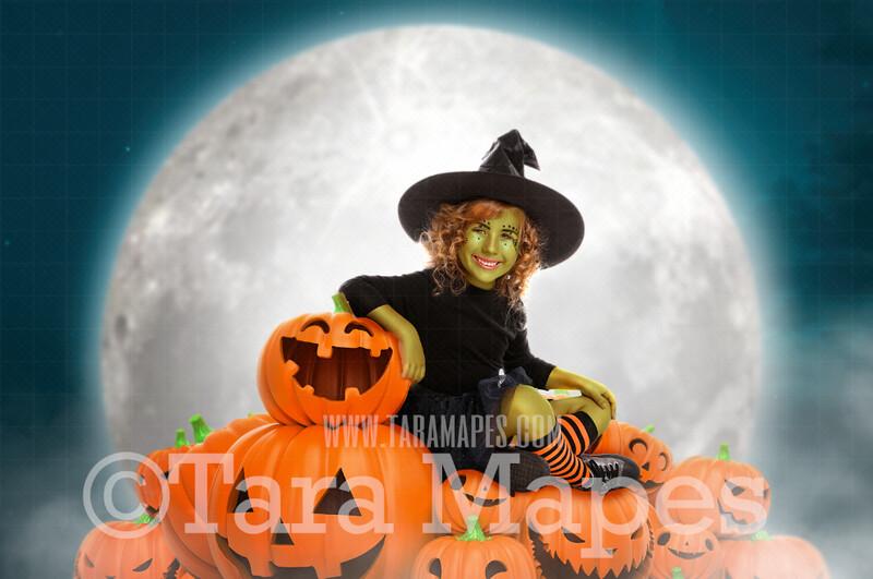Halloween Digital Backdrop - Jack-o-lantern Hill and Moon - Smiling Pumpkins- Halloween Digital Background