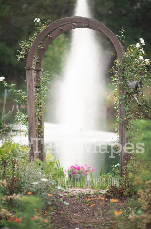 Flower Trellis Digital Backdrop - Garden Trellis by Pond - Natural Digital Background