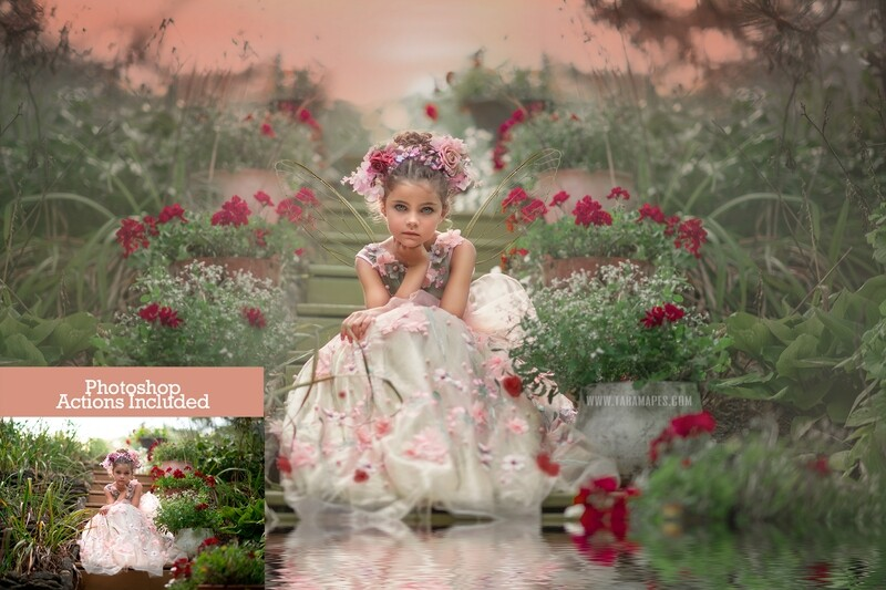 The Garden Fairy Painterly Photoshop Tutorial-  Action Workflow Set Included -- Fine Art Tutorial by Tara Mapes