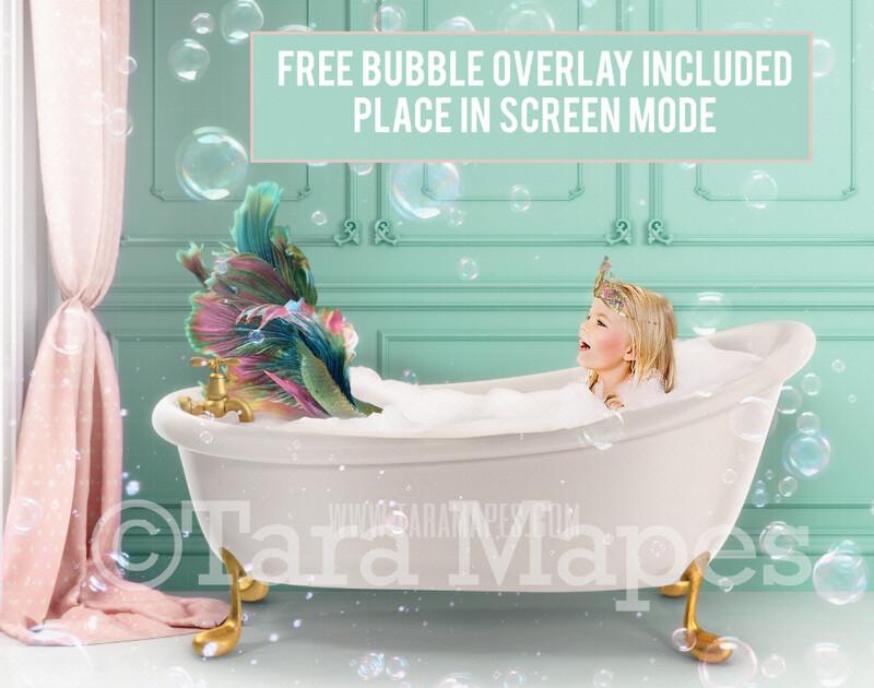 Bathtub Mermaid Digital Backdrop - Bathtub Mermaid Digital Background -  JPG File Digital Background