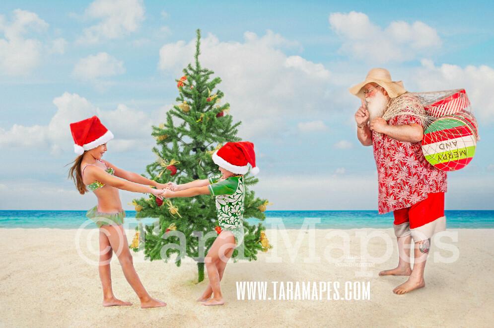 Beach Santa Digital Background - Beach Santa with Christmas Tree on Beach - Warm Christmas Beach - Beach Christmas Holiday Digital Background Backdrop