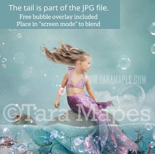 Mermaid Turtle in Ocean Digital Backdrop - Mermaid Tail on Turtle Rock in Ocean-  JPG File Digital Background