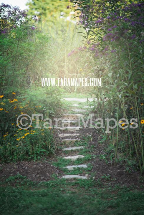 Garden Walkway Digital Backdrop - Garden Path - Natural Digital Background