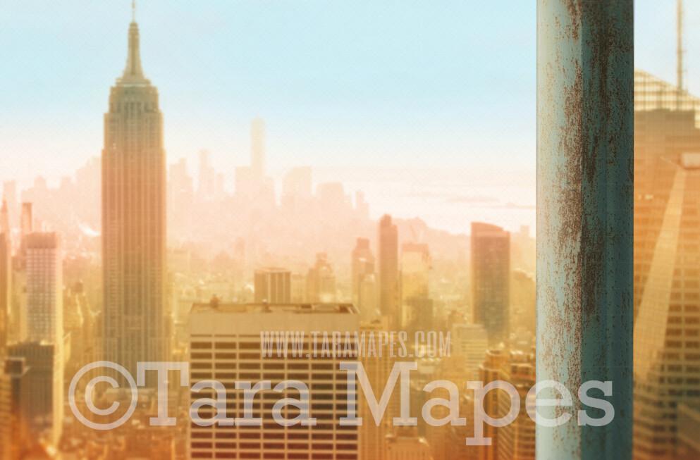 Superhero Digital Backdrop - Beam over New York City - Superhero Beam over City - Superhero City Digital Background
