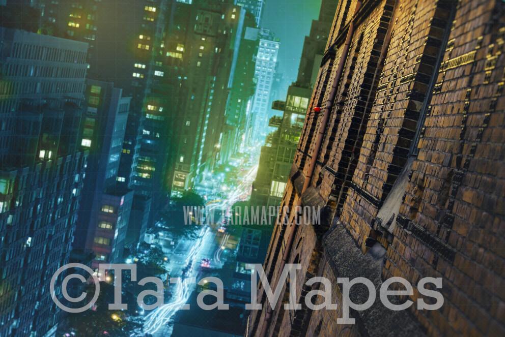 Superhero Digital Backdrop - Tilted Building Side New York City - Superhero Side of Building NYC Superhero City Digital Background