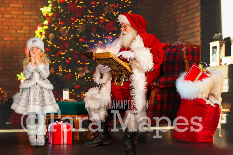 Santa Reading Magic Book by Christmas Tree  - Painterly Santa Scene - Painterly Christmas Background - Holiday Digital Background Backdrop