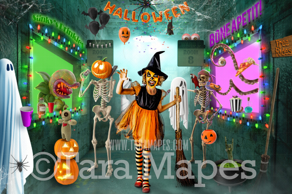 Halloween Digital Backdrop - Monster Party - Funny Halloween Scene with Monsters -  Kid Friendly - Halloween Digital Background
