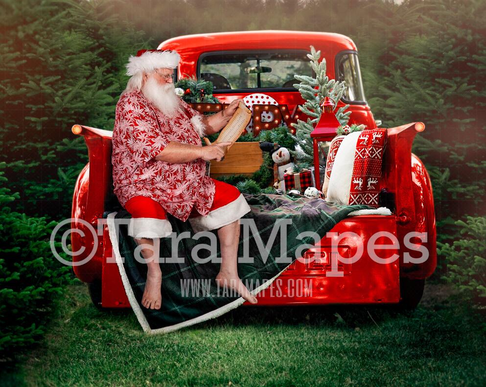Christmas Digital Backdrop - Summer Santa Sitting on Vintage Red Truck - Christmas Truck in Tree Farm - Christmas Digital Background