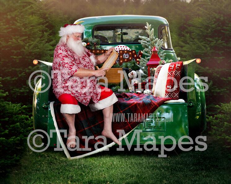 Christmas Digital Backdrop - Summer Santa Sitting on Vintage Green Truck - Christmas Truck in Tree Farm - Christmas Digital Background