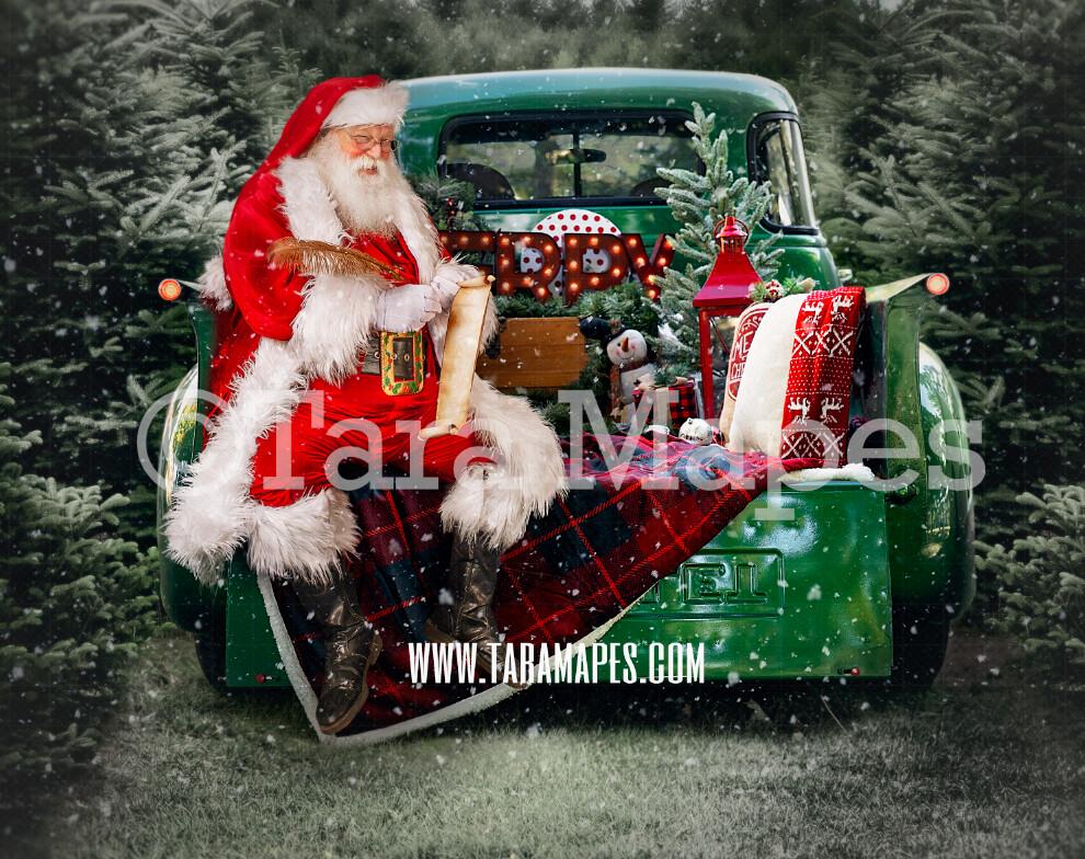 Christmas Digital Backdrop - Santa Sitting on Green Vintage Christmas Truck - Christmas Truck in Tree Farm - with Free Snow Overlay - Christmas Digital Background
