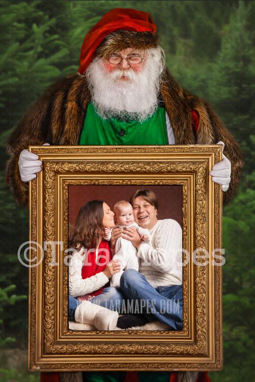 Santa with Picture Frame-  Santa Frame JPG -  Victorian Santa - Holiday Christmas Digital Background / Backdrop