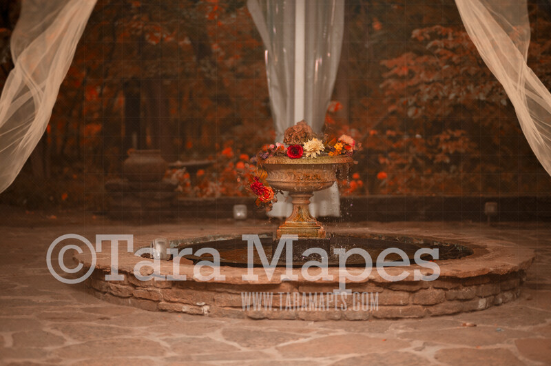 Autumn Fountain Scene - Dreamy Nature Natural Fall Fountain in Castle Scene with Flowing Sheer Curtains - Digital Background by Tara Mapes