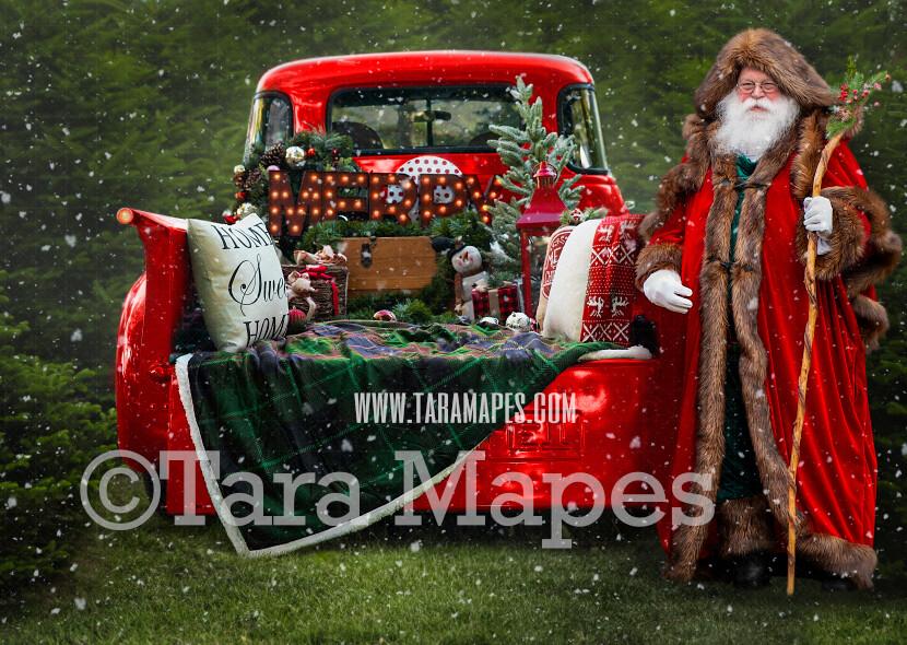 Christmas Digital Backdrop - Santa Sitting on Vintage Christmas Truck - Christmas Truck in Tree Farm - with Free Snow Overlay - Christmas Digital Background