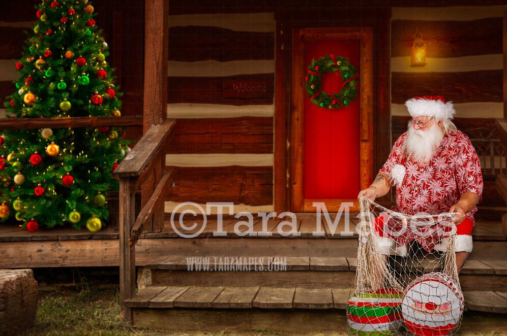 Beach Santa Digital Backdrop - Summer Santa's Cabin - Santa on Log Cabin Steps - Christmas Digital Background