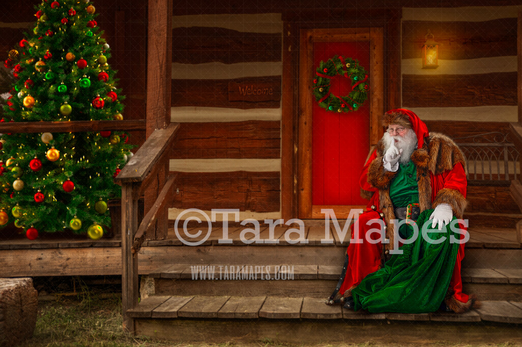 Santa Digital Backdrop - Victorian Santa 's Cabin - Santa on Log Cabin Steps - with Free Snow Overlay - Christmas Digital Background