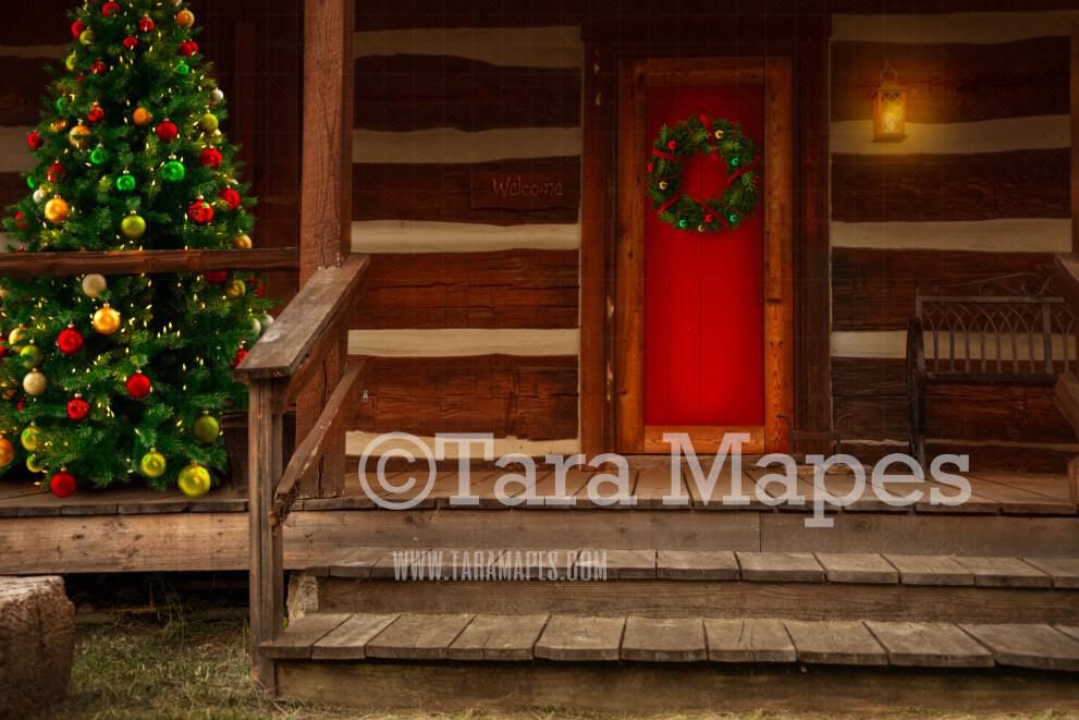Santa's Cabin Digital Backdrop - Santa's House - with Free Snow Overlay - Christmas Digital Background
