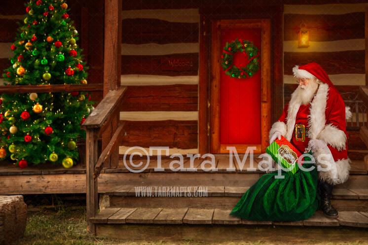 Santa Digital Backdrop - Santa 's Cabin - Santa on Log Cabin Steps - with Free Snow Overlay - Christmas Digital Background