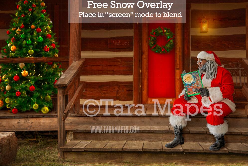 Black Santa Digital Backdrop - Black Santa 's Cabin - Santa on Log Cabin Steps - with Free Snow Overlay - Christmas Digital Background