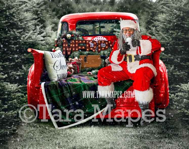 Christmas Digital Backdrop - Black Santa Sitting on Vintage Christmas Truck - Christmas Truck in Tree Farm - with Free Snow Overlay - Christmas Digital Background