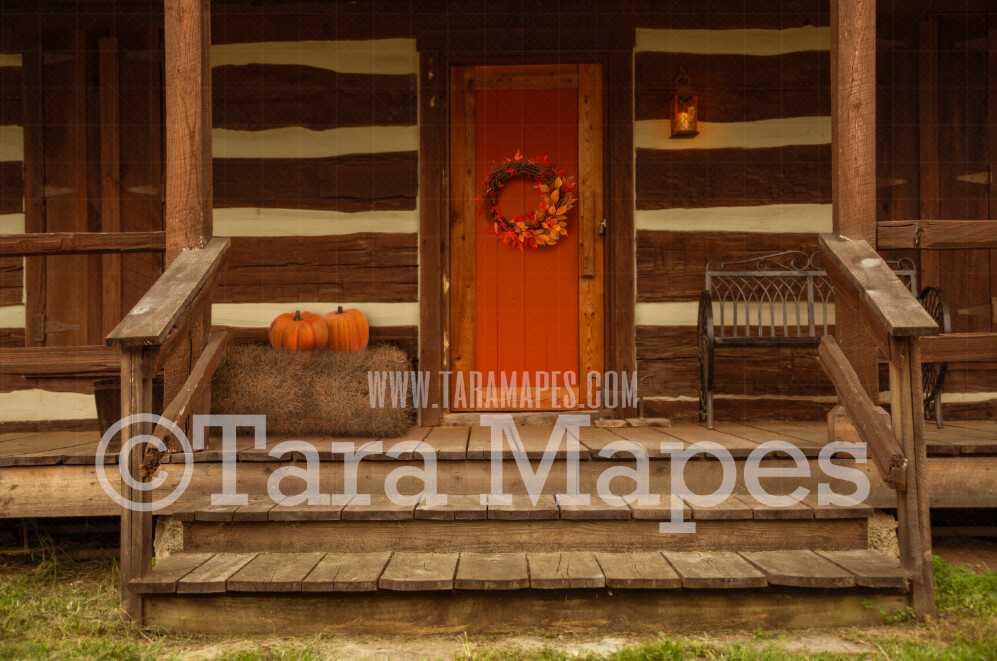 Fall Cabin - Fall Barn - Barn in Autumn - Hay and Pumpkins on Cabin Stairs- Digital Background by Tara Mapes