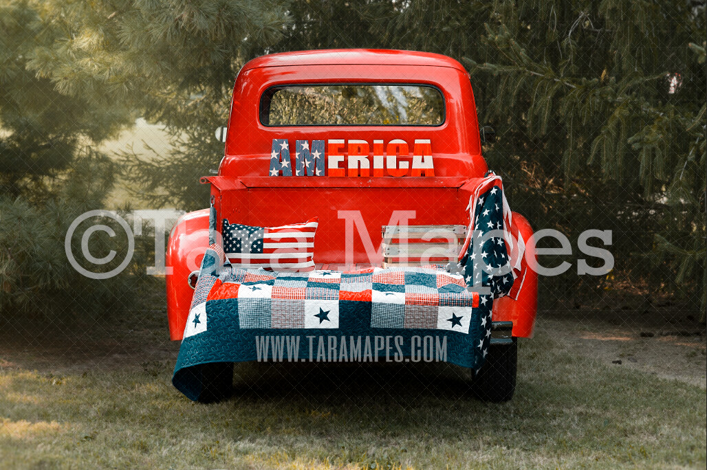 Americana Red Vintage Truck - Fourth of July American Christmas Truck Vintage Red Truck Digital Background Backdrop