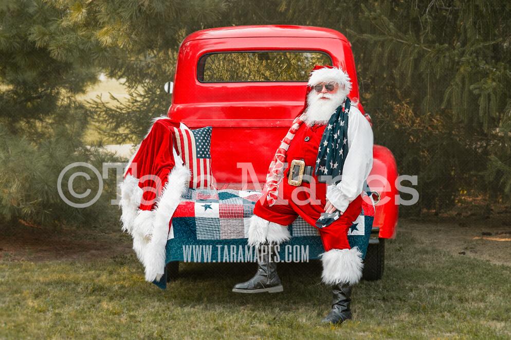 Merica Santa on Red Vintage Truck - Fourth of July - Americana Santa - Christmas Truck Vintage Red Truck Digital Background Backdrop