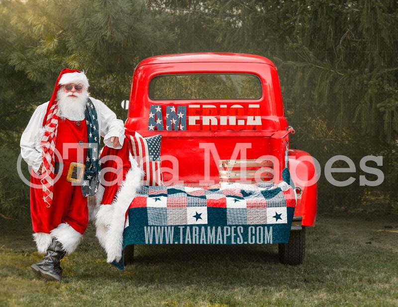 Merica Santa by Red Vintage Truck - Fourth of July - Americana Santa - Christmas Truck Vintage Red Truck Digital Background Backdrop