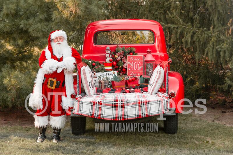 Santa Digital Backdrop - Red Vintage Truck Digital Backdrop - Christmas Truck in Tree Farm Holiday Family Digital Background Backdrop