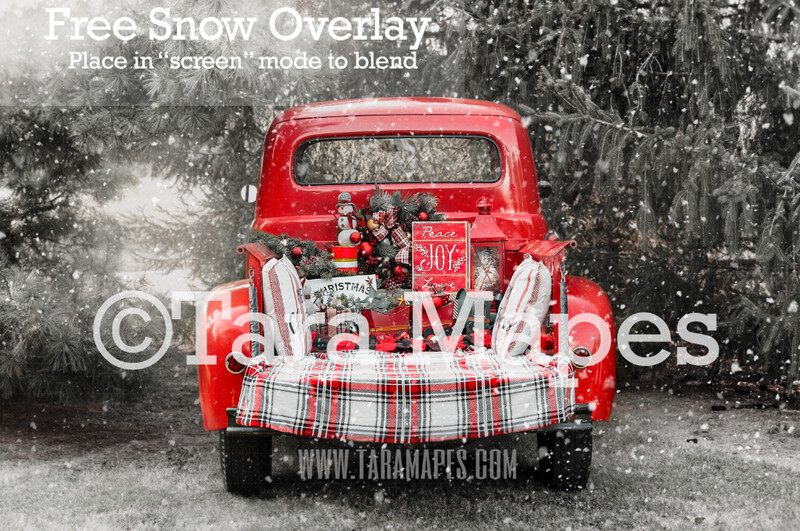 Red Vintage Truck Digital Backdrop - Christmas Truck in Tree Farm Winter Truck Digital Background Backdrop - Free Snow Overlay Included