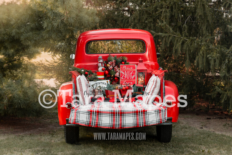 Red Vintage Truck Digital Backdrop - Christmas Truck in Tree Farm Holiday Family Digital Background Backdrop