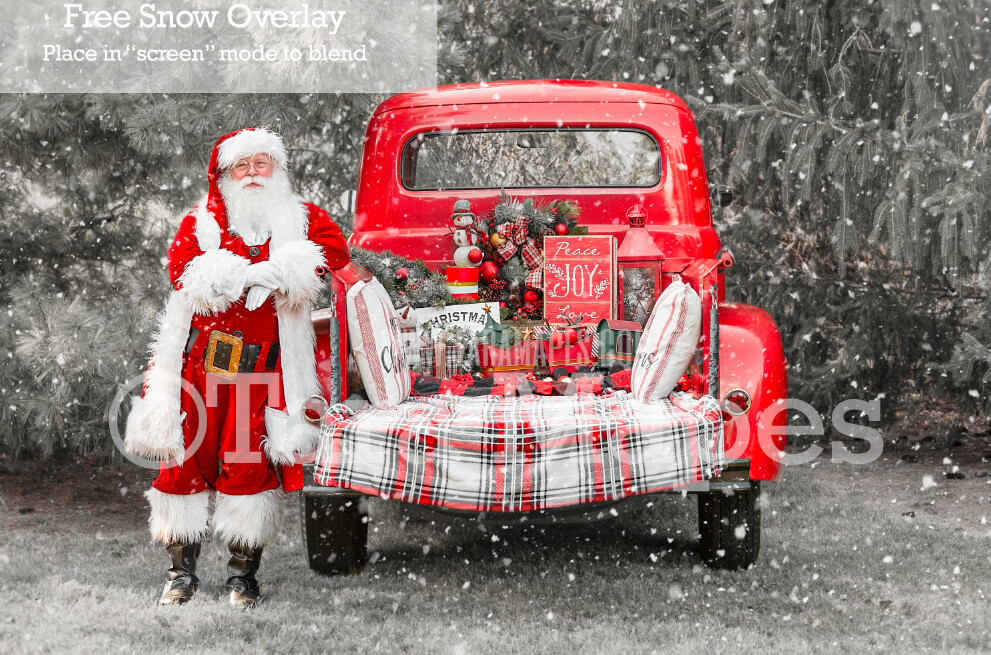 Santa Vintage Red Christmas Truck Digital Backdrop - Santa Sitting on Vintage Christmas Truck - Christmas Truck in Tree Farm - with Free Snow Overlay - Christmas Digital Background