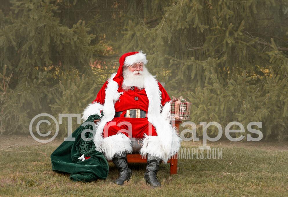 Santa Digital Backdrop - Santa Giving Gift by Tree - Christmas Digital Backdrop by Tara Mapes